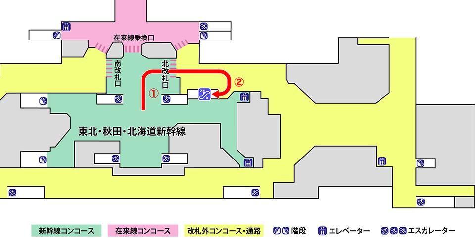 盛岡駅2階案内図