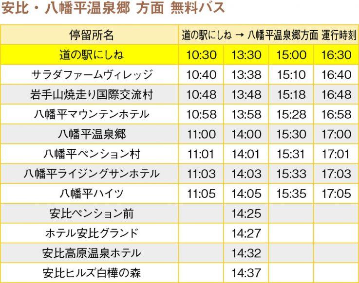 道の駅にしね発バス時刻表【安比・八幡平温泉郷方面】